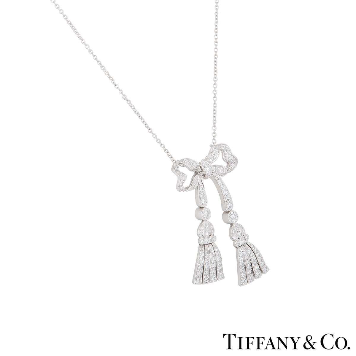 Tiffany & Co. Diamond Bow Necklace